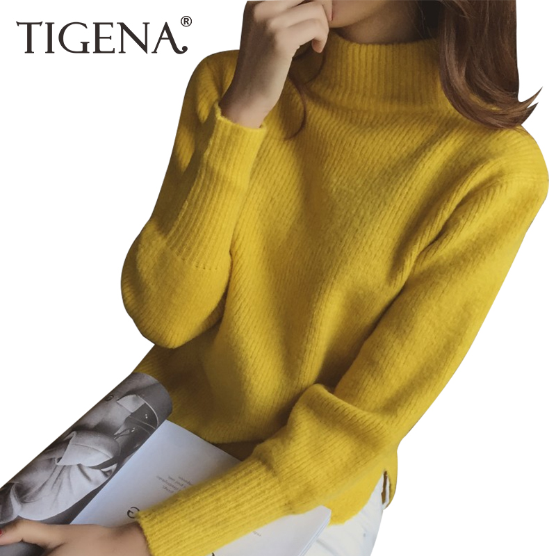 TIGENA 2018 Autumn Winter Split Half Turtleneck Knitted Women Sweaters And Pullovers Female School Jumper Pull Femme Black Pink