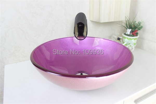 Pink Glass Sink Tempered Glass Vessel Sink With Faucet Set N 476