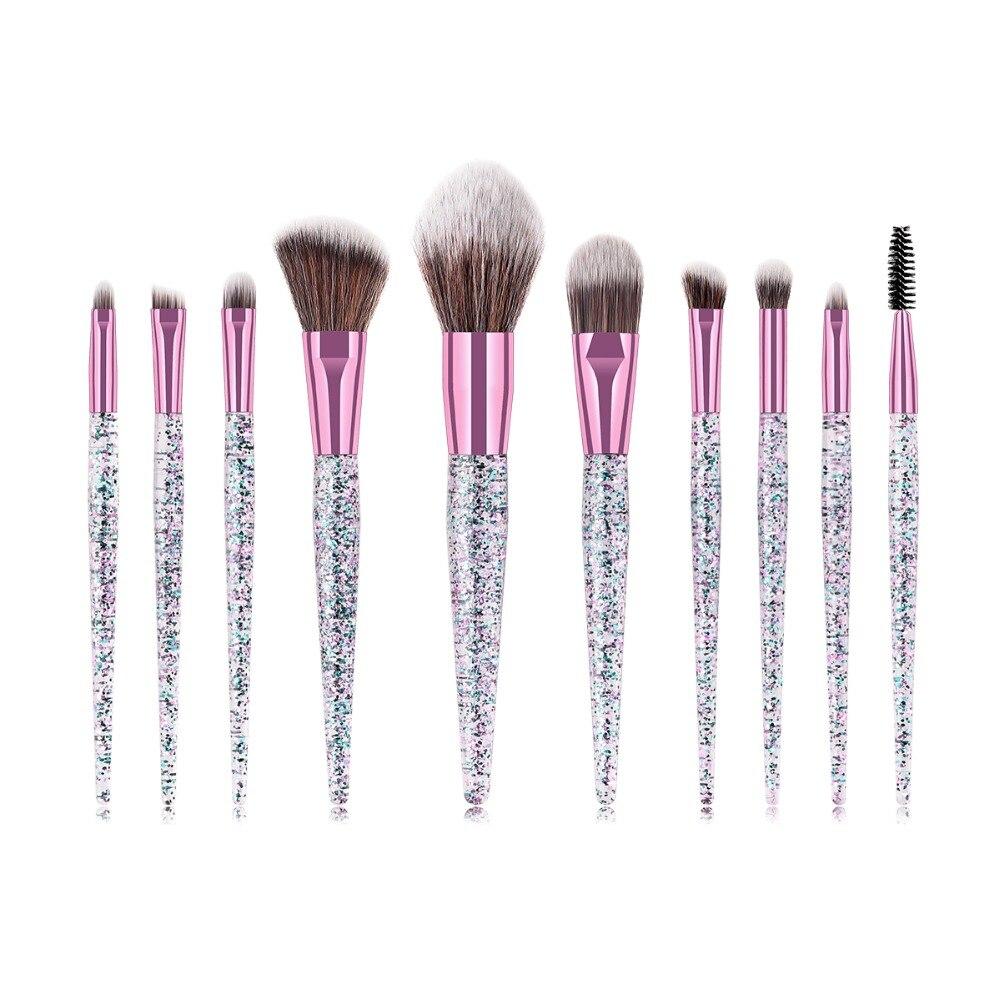 BBL 10pcs Gorgeous Glitters Makeup Brushes Set Full Coverage Make Up Brushes Powders Blending Contouring Buffing Brush Maquiagem