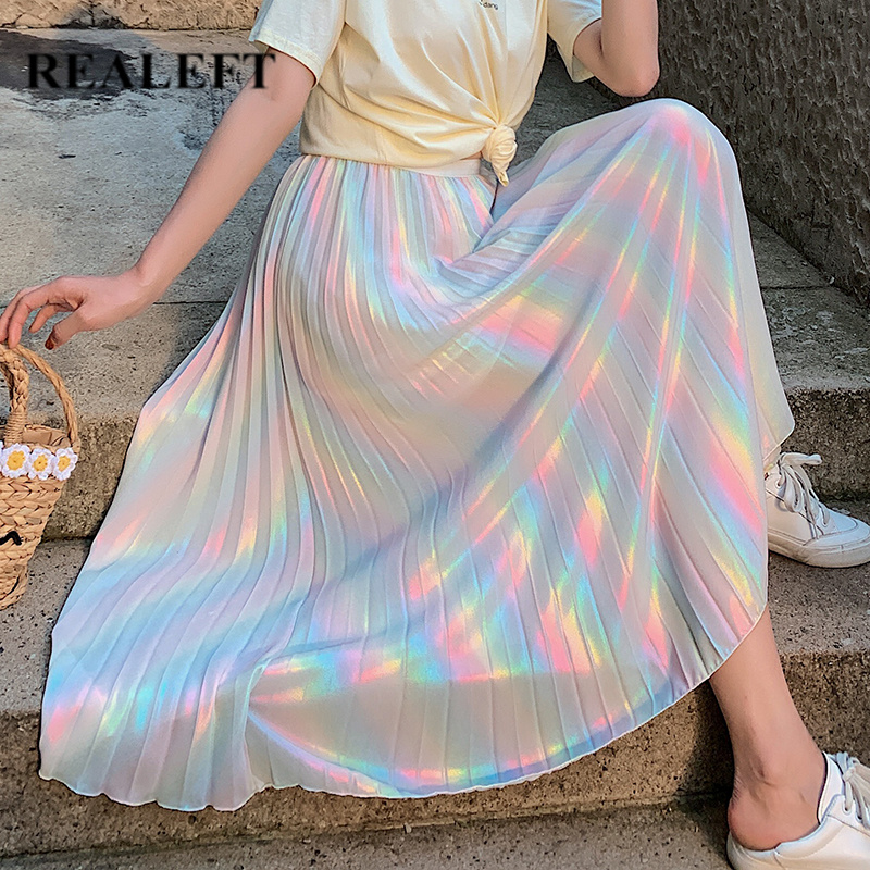 REALEFT 2019 New Arrival Women Elegant Rainbow Color Pleated Long Skirts Elastic High Waist Mid-calf Party Skirts For Ladies