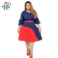 e9cc3deab H D 2019 Summer Dress For Women Plus Size Office Lady Dresses Vintage Dress  With Belt