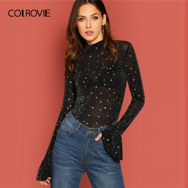 COLROVIE Black Stand Collar Glitter Star Elegant   Blouse     Shirts   Women 2019 Spring Flounce Sleeve Galaxy Sexy Tops And   Blouses