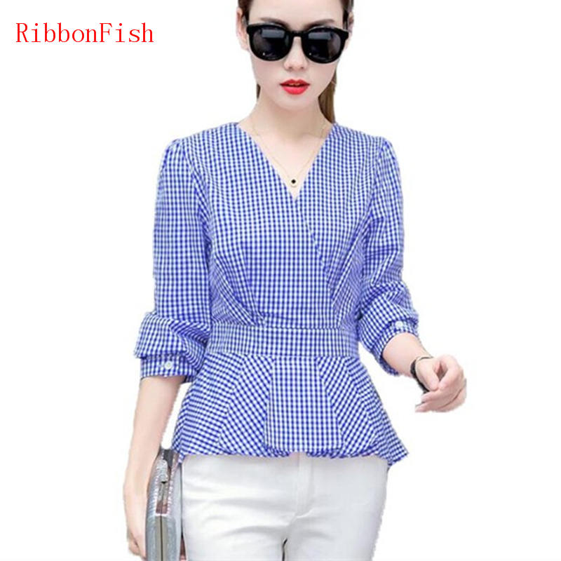 Office Wear Women Summer Chiffon Blouses Shirts Lady Girls Casual Cross V-Neck Plaid Long Sleeve Blusas Plus Size DF1377