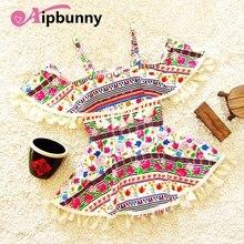 Aipbunny Ethnic Printed falbala girls swimwear baby kids biquini infantil One-Piece swimsuit bikini 2018 summer bathing suits