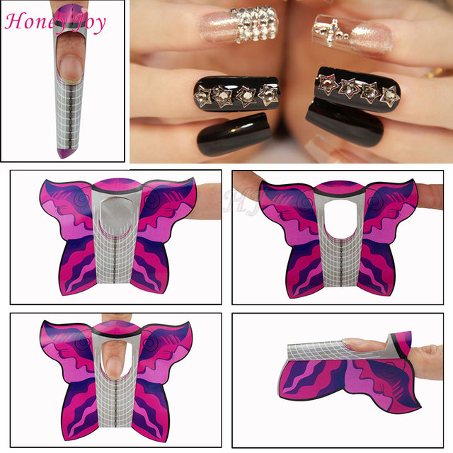 Aliexpress.com : Buy 300pcs/lot Professional Butterfly Nail Form ...