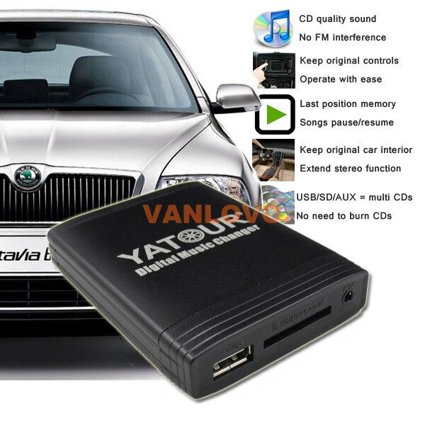 ФОТО YATOUR Digital Music Changer AUX SD USB MP3 Adapter for SKODA Octavia / Fabia / Superb / Yeti / Roomster Radios: 12-Pin CDC Port