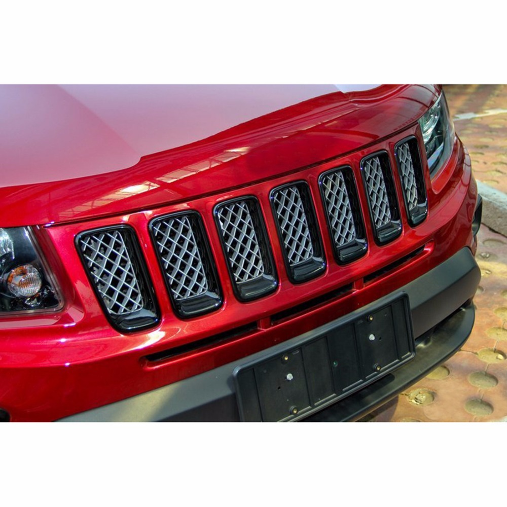 Wotefusi Black ABS Chrome Front Grille Mesh Vent Hole Trims For Jeep Compass 2011 2012 2013 2014 2015 2016 [QPA340] front center grille grill cover trims for toyota senna 2011 2012 2013 2014 2015