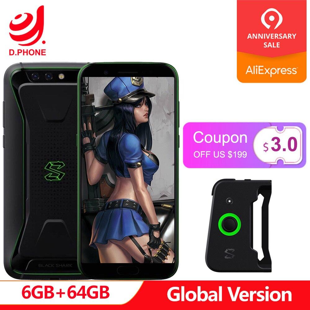 Noir requin Version globale Xiaomi téléphone de jeu 6 GB 64 GB Snapdragon 845 Octa Core 18:9 plein écran 5.99