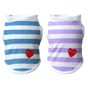 Pet Dog Casual Striped T Shirt Cotton Vests Sweet Pet Dog Clothing Wear-resisting T Shirt with Love Heart Pattern for Puppy