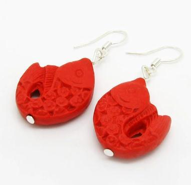 Perfect Fish Red Carved Cinnabar Earrings Fashion Women S Lacquerware Jewelry Silver Dangle Earring C 43 In Drop From