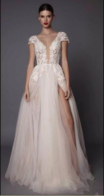 sexy side slit 2017 muse bridal gown cap sleeves deep plunging v neck embellished bodice lace tulle skirt open   bridesmaid     dress