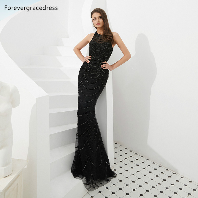 Forevergracedress Actual Images Luxury Black   Prom     Dresses   2019 Jewel Neck Beaded Formal Party Gowns Plus Size Custom Made