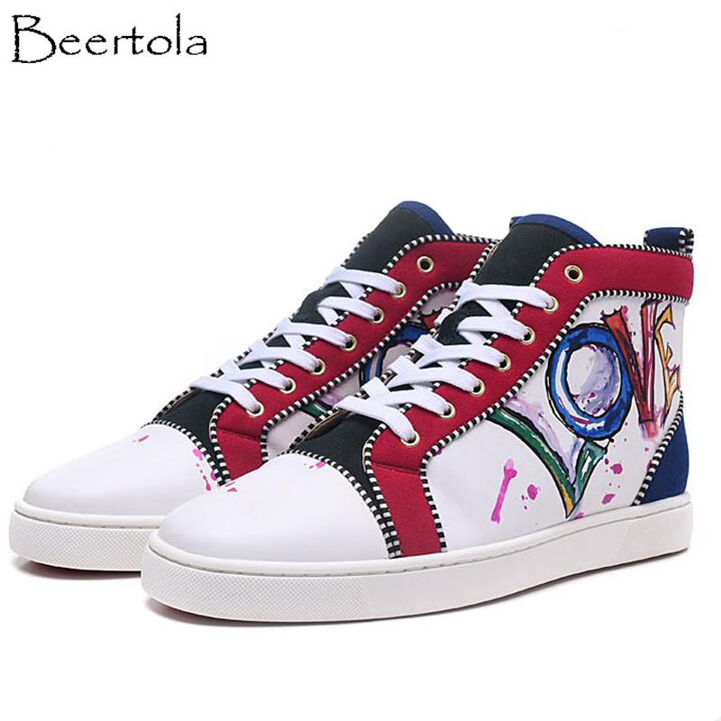 Detail Feedback Questions about Beertola Newest Casual Shoes Unisex Love  Letters Suede Round Toe Couple Shoes Luxury Brand Lace Up Graffiti Zapatos  Mujer ... d1b287594471