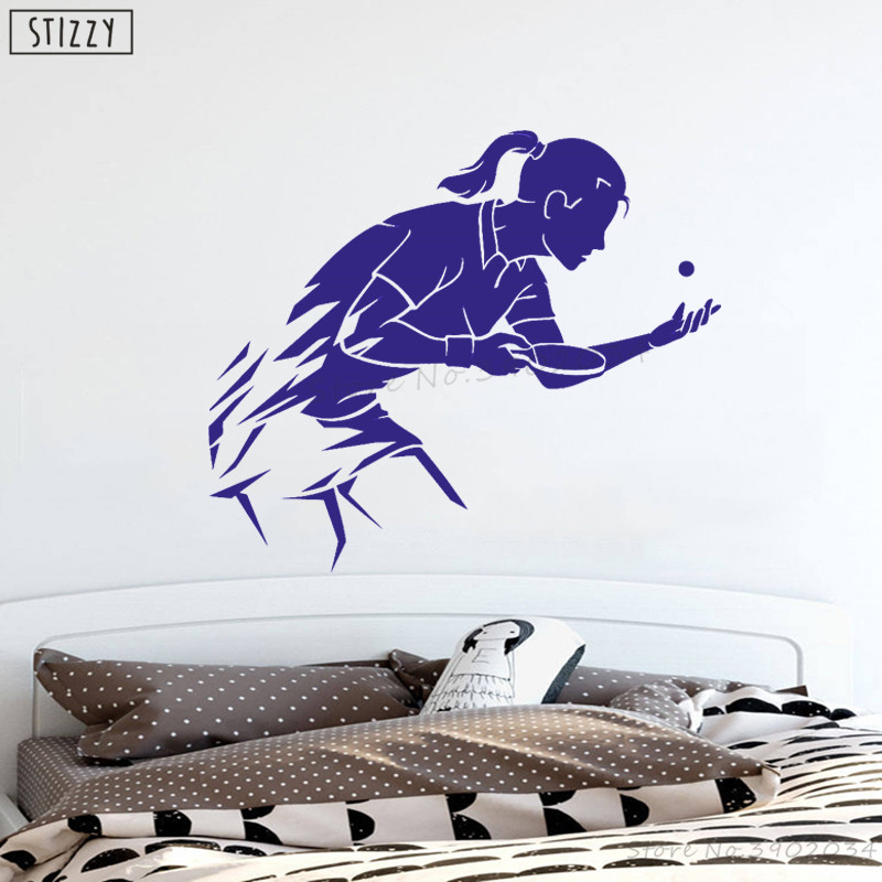 Table Tennis Sport Silhouette Vinyl Wall Art Decor Sticker for Home Room Decals