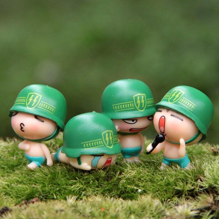 4 Pcs/ Hot-selling/resin craft/green helmet/children gifts/lovely - Home Decor