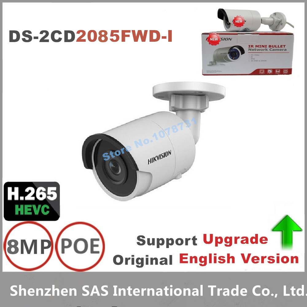 Hikvision Newest H.265 Camera Original English DS-2CD2085FWD-I 8MP Network Bullet Camera Security Camera Surveillance Cam hikvision english version ds 2cd2085fwd i 8mp mini network bullet cctv security camera poe p2p wdr 30m ir sd card h 265