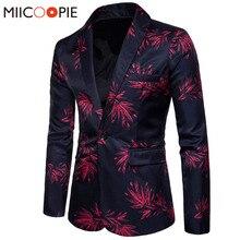 Nova marca dos homens moda blazer floral impresso fino ajuste blazer masculino único botão masculino e terno jaqueta outerwear casaco