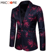 新ブランドメンズファッションブレザー花柄プリントスリムフィットブレザーmasculino単一のボタン男性のブレザーとスーツジャケット上着コート