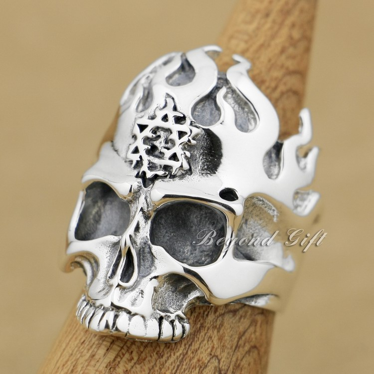 925 Sterling Silver Huge & Heavy Flame Skull Mens Biker Ring 9Q004A US Size 8~13 r003 skull shaped titanium steel ring black silver us size 8
