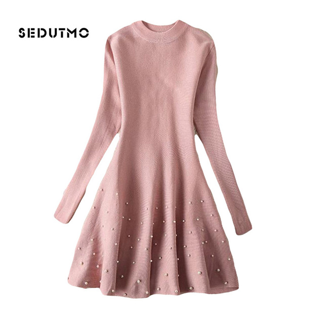 5bdcd71bce3 SEDUTMO 2018 Spring Sweater Dress Women Tunic Pearl Dresses Sexy Autumn  Vintage Fashion Long Sleeve Party