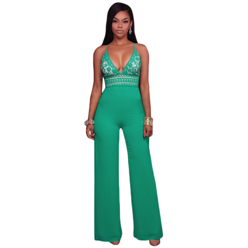 Sexy Halter V Neck Lace Patchwork Straight Jumpsuit Women Black Green Criss Cross Back Long Romper High Waist Party Overalls