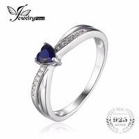 JewelryPalace Love Heart 0 38ct Created Sapphire Engagement Ring For Women 925 Sterling Silver Jewelry Simple