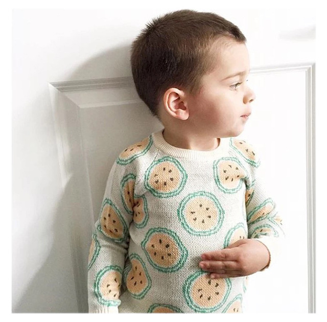 cardigan Spring boy autumn new orange printed long sleeve sweater good quality pullover baby boy girl sweaters kids tops 1-5T