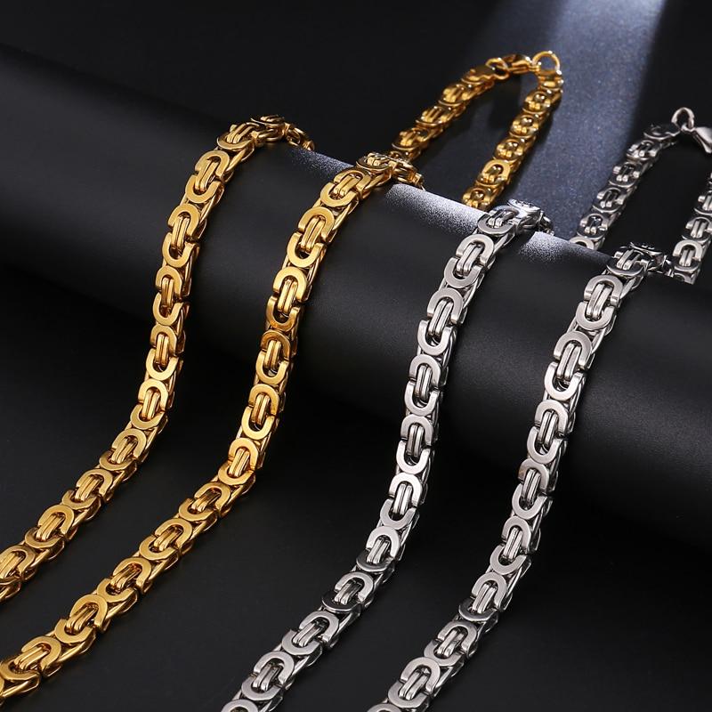 35bea4616097 HIP Hop ancho 6mm de acero inoxidable de plata de oro bizantino enlace  cadena collar 316L de acero inoxidable para los hombres de la joyería  Dropshipping. ...