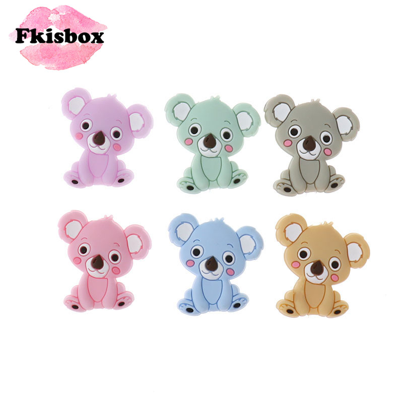 Fkisbox 20pc Mini Koala Silicone Bear Teether Beads Bpa Free DIY Babies Pacifier Chain Chewable Teething Tooth Care Products Toy