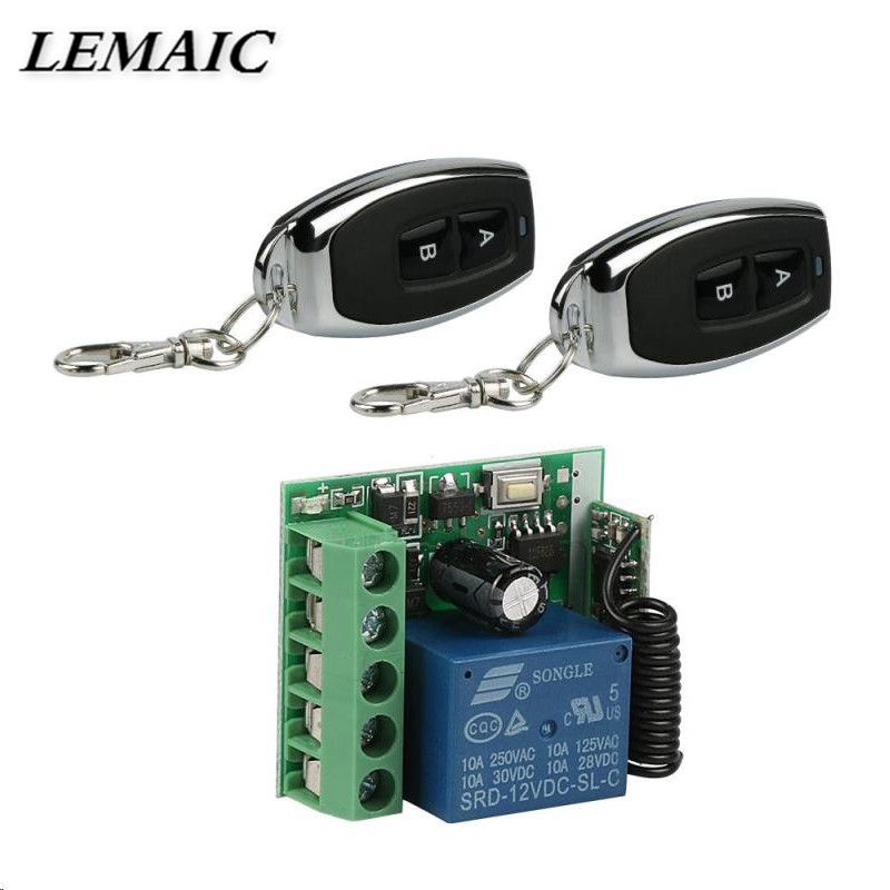 LEMAIC 433Mhz Wireless Remote Control Switch DC 12V 10A 1 Channel Relay Receiver Module and 2pcs 433Mhz RF Remote Transmitter 433mhz dc12v 8ch channel wireless rf remote control switch transmitter receiver