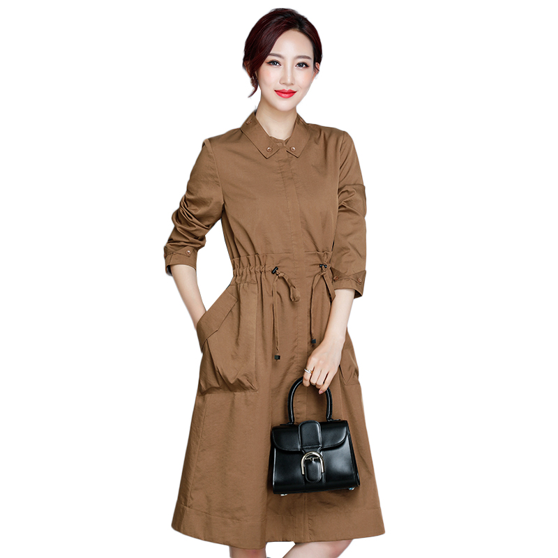 Fashion Spring Autumn Thin Long Trench Coat for Women Office Lady Slim Long Sleeve Trench Female