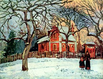 Chestnut Trees Louveciennes Winter Camille Pissarro painting Decorative art Handmade High quality