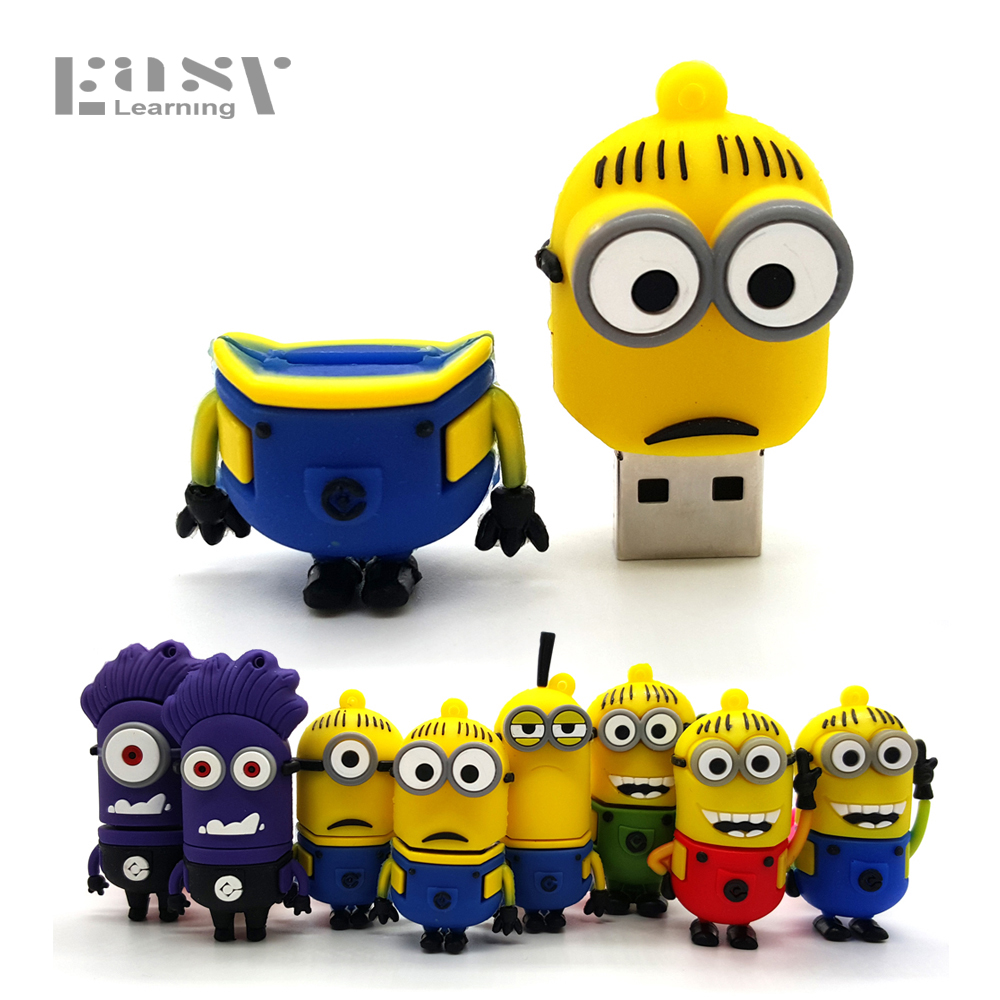 Easy Learning USB 2.0 Cartoon Minions Family USB Flash Drive 4GB 8GB 16GB 32GB 64GB Memory Stick Pen Drive Flash Card Pendrives easy learning speak french with cdx2