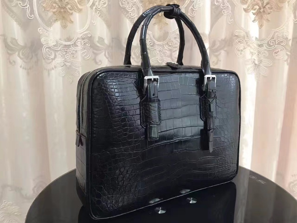 Briefcase-Bag Laptop-Bag Crocodile Brown Business 100%Genuine-Crocodile-Leather Men Belly-Skin