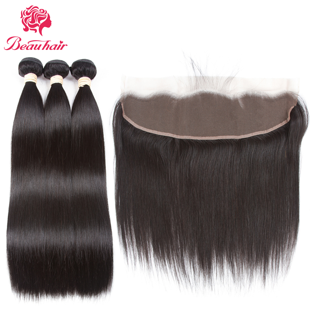 Beau Hair Human Hair 3 Bundles India Straight Hair with Lace Frontal Closure 13*4 Ear To Ear Lace Frontal Closure with Bundles