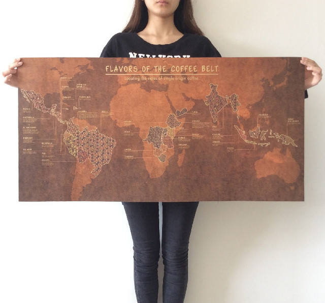 Flavors of the coffee belt world map huge large vintage style flavors of the coffee belt world map huge large vintage style retro paper poster home wall gumiabroncs Gallery