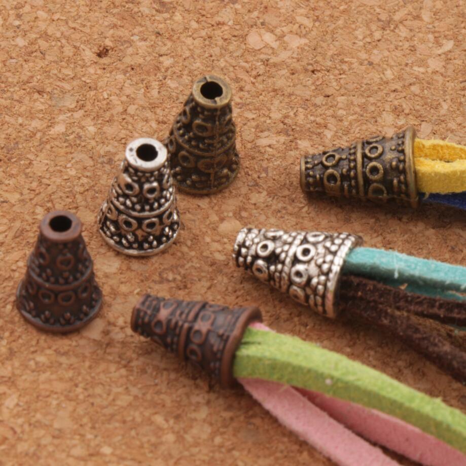 Dots Cone End Caps Bead Cap 7.2x7.2mm 68PCS Antique Silver/Bronze/Copper Jewelry Findings Components L1082