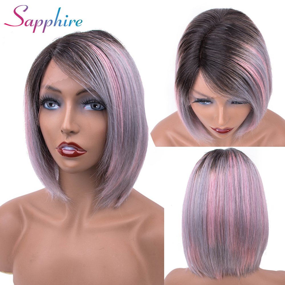 Sapphire Short Lace Front Human Hair bob Wigs Pre plucked remy Lace Frontal Wig Ombre TB