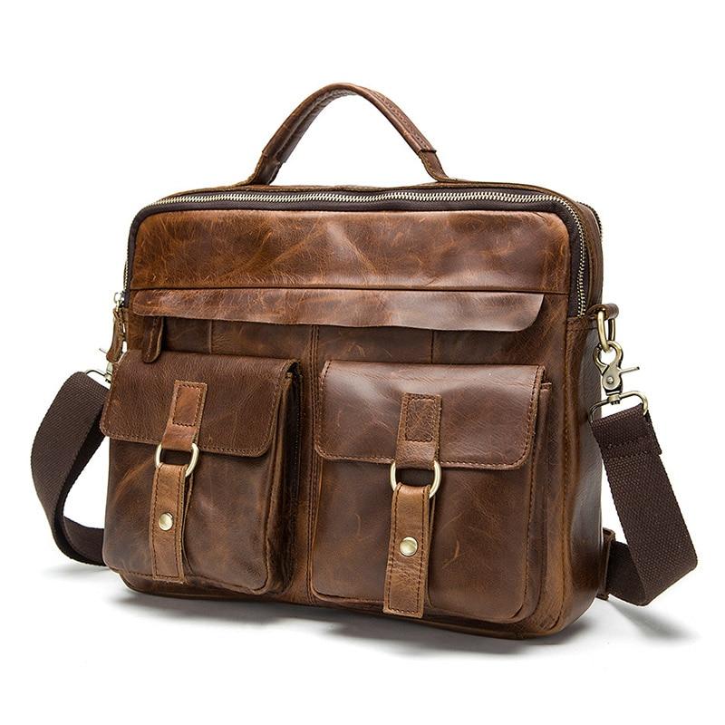 Marka męska torba ze skóry naturalnej Crossbody torby casualowe torby tote mężczyźni teczki torebki na laptopa mężczyźni na ramię bagTravel torby w Torby z uchwytem od Bagaże i torby na  Grupa 1