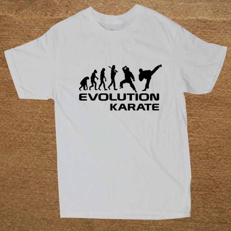 Эволюция Karate Забавный Футболка Мужчины С Коротким Рукавом Ситец Мультфильм Футболки Топы