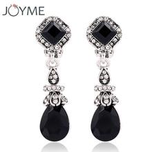 Trendy Vintage Silver Color Black Earring Clips No Pierced Ear Clips Earrings women Long Earings Red Dangle Indian Jewelry