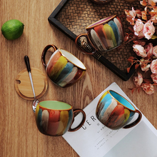 Retro mug High-capacity coffee cup with lid top quality ceramic Porcelain tea set Afternoon party home office drink ware