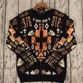 2015 MB MARCELO BURLON Men Long Sleeve T-Shirts Sweatshirts Orange CROSS DINO BONE Sweaters Mesh Tee OVER Size XS-L