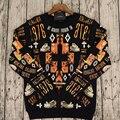2015 mb marcelo burlon hombres de manga larga camisetas sudaderas orange cruz dino hueso suéteres de malla camiseta más tamaño xs-l