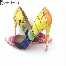 105fa88425b0 Beertola New 2018 Pumps Woman Mixed Color Sexy Super High Heels Pointed Toe  Shallow Fashion Shoes Woman Luxury Brand Model Shoes