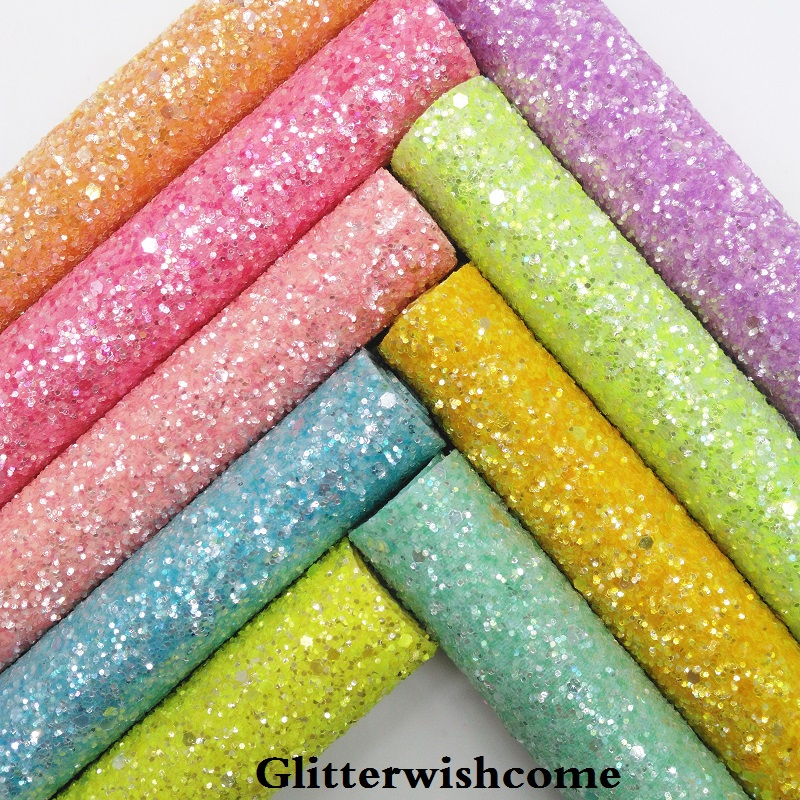 Glitterwishcome 21X29CM A4 Size Synthetic Leather, Matching Color Backing, Chunky Glitter Leather Vinyl For Bows, GM033A