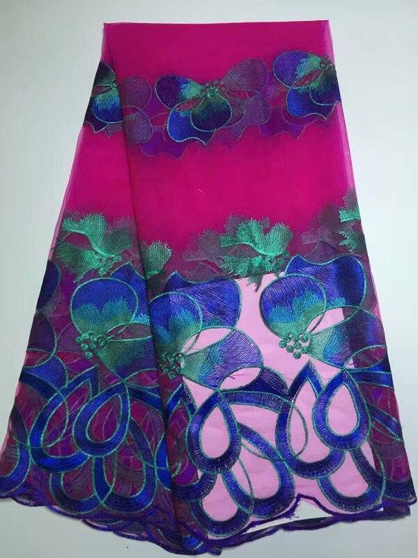 5 metrov / kos lepo videti fuksija francoska mreža čipkasta tkanina - Umetnost, obrt in šivanje
