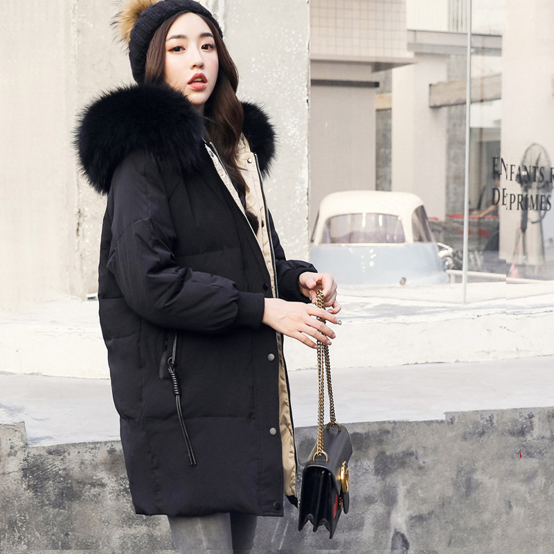 0585af48cb151 KMETRAM Winter White Goose Down Jacket Women Real Raccoon Fur Collar Hooded  Thick Coat Plus Size