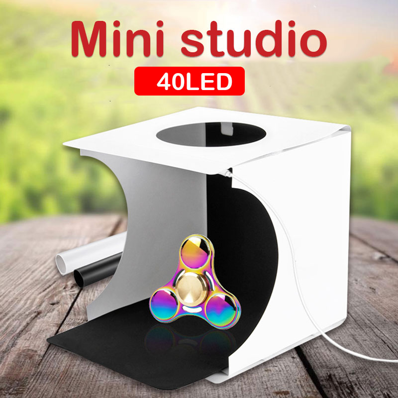 Folding Lightbox Photo Studio Portable Desktop Photography LightRoom Photo Studio with Double Row LED Soft lighting for Camera
