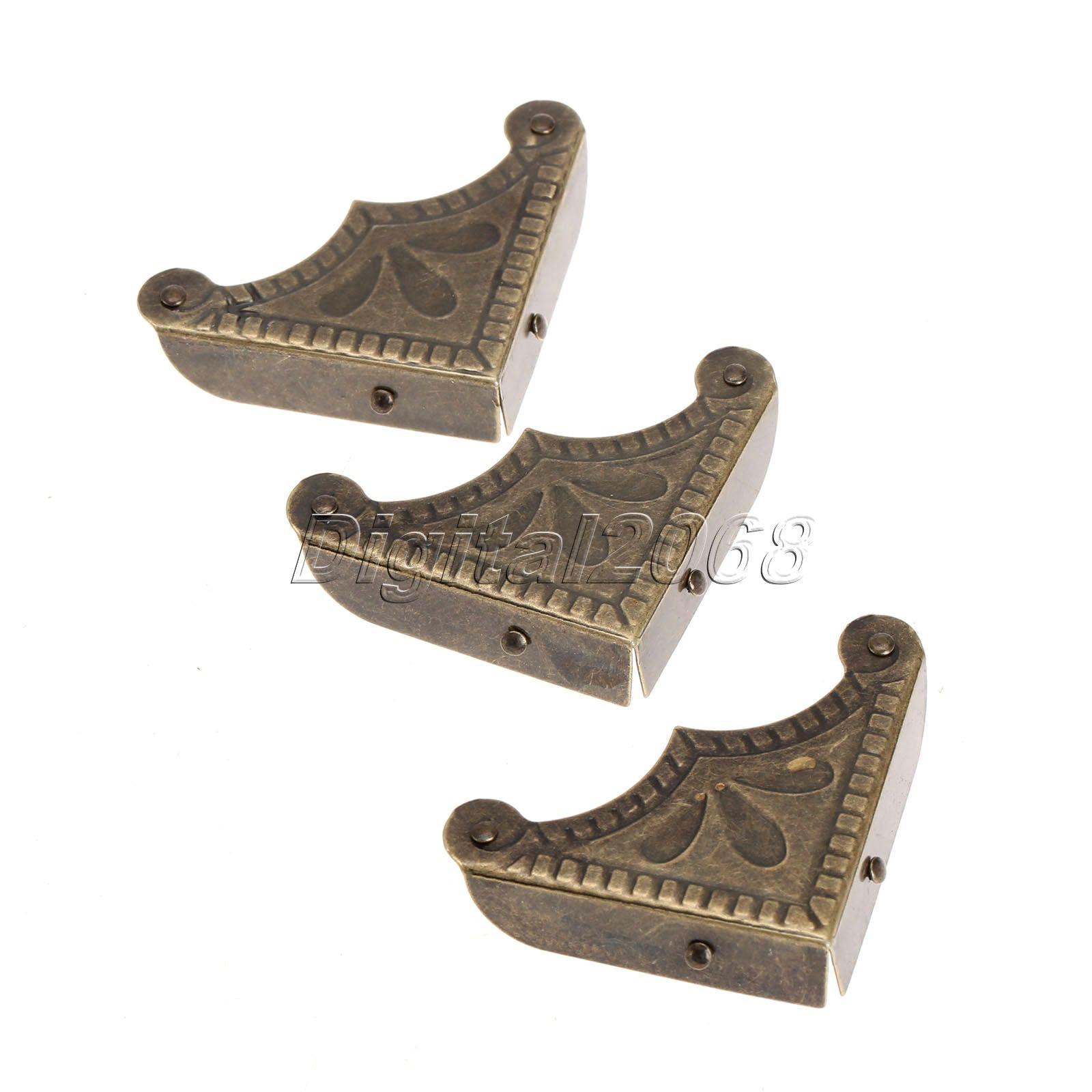 Hot Sale 12pcs Corner Brackets Antique Brass Jewelry Wine Gift Box Wooden Case Chest Edge Cover Corner Protector Guard +Screws